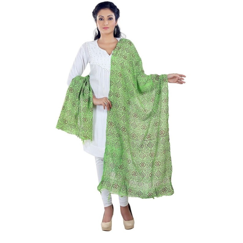 Poly Cotton Printed Solid Dupatta