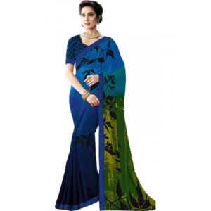 Georgette Digital Printed Saree With Blouse-Dark Blue Color Saree