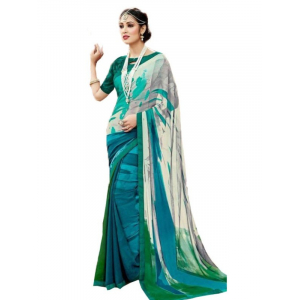 Georgette Digital Printed Saree With Blouse-Dark Green, Multi Color Saree