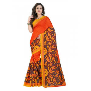 Generic Womens Bhagalpuri Art Silk Floral Printed Saree (Orange, Multi, 6 mtr)