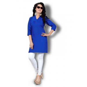 Women's Blue Solid Thigh Length Kurta