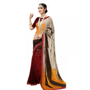 Georgette Digital Printed Saree With Blouse-Multi Color Saree