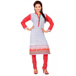 Grey & Red Printed Casual Women's Kurti