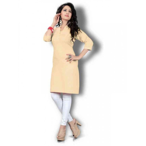 Women's Beige Solid Thigh Length Kurta
