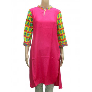 Pink Solid Chinese Collar Kurti For Women