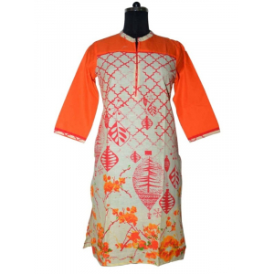 Orange Cotton Printed Kurti