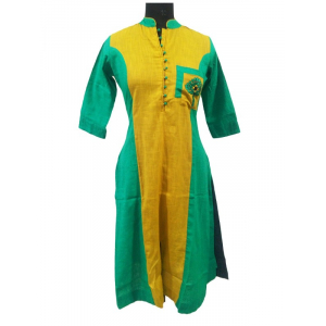 Generic Womens Long Cotton Straight Kurti (Yellow, Green, XL)