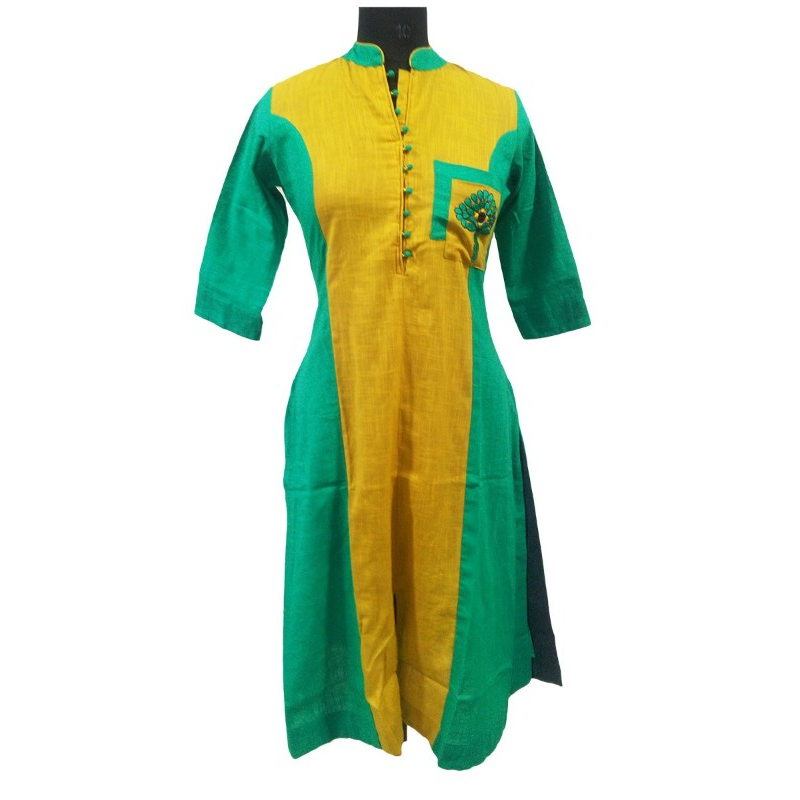 Long Straight Embroidery Kurti With Cotton Slub