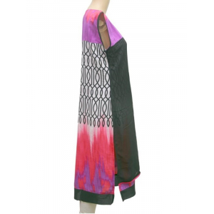 Black and Purple Synthetic Sleeveless Printed Kurta