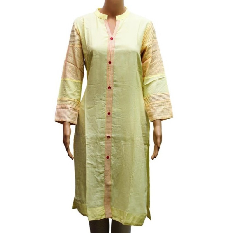 Women's Solid Lemon Yellow Front Buttoned Formal Kurti