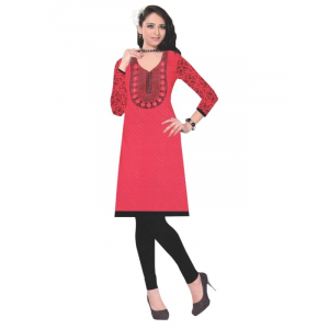 Red Designer Round Embroidered Neck Women's  Kurta