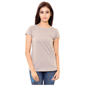 Gray Cotton Western Solid Short Sleeve Top