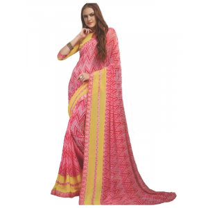 Generic Womens Georgette Digital Printed Saree (Pink, Yellow, 6.25 Mtr)