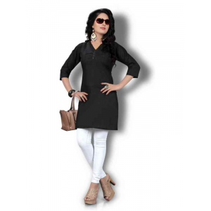 Women's Black Solid Thigh Length Kurta