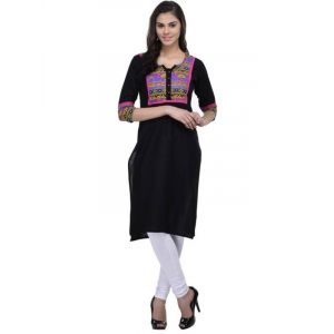 Women's  Cotton Black Printed 3/4th Sleeves Kurti
