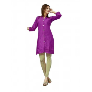 Generic Womens Cotton Straight Kurti (Violet, L)