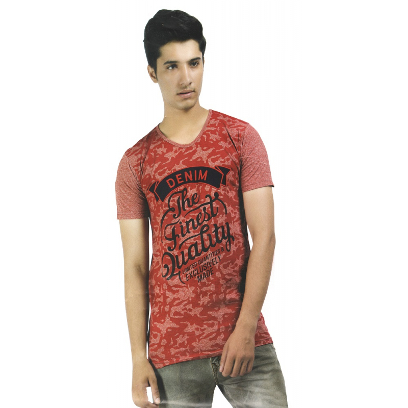 Generic Mens  Hosiery Printed Men Tshirts (Red, S)