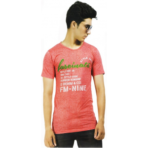 Mens Red Tshirt with Round Neck