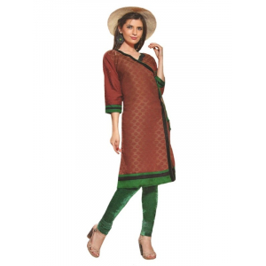 Generic Womens Cotton Straight Kurti (Brown, XL)