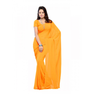 Generic Womens Georgette Plain Saree (Yellow, 6 mtr)
