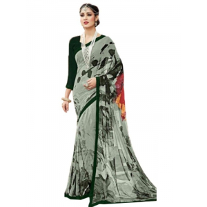 Generic Womens Georgette Digital Printed Saree (Sea Green, 6.25 Mtr)