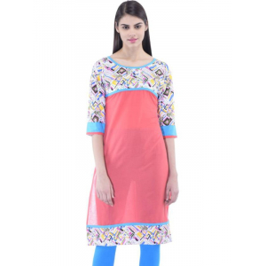Women's  Self Design Pink Kurta With 3/4th Sleeves