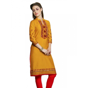Generic Womens Long, Linen and Cotton Mix Straight Kurti (Dark Yellow, M)