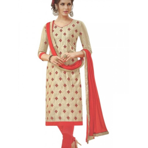 Offwhite Embroidered Bhagalpuri Silk Unstitched  Dress Material For Women