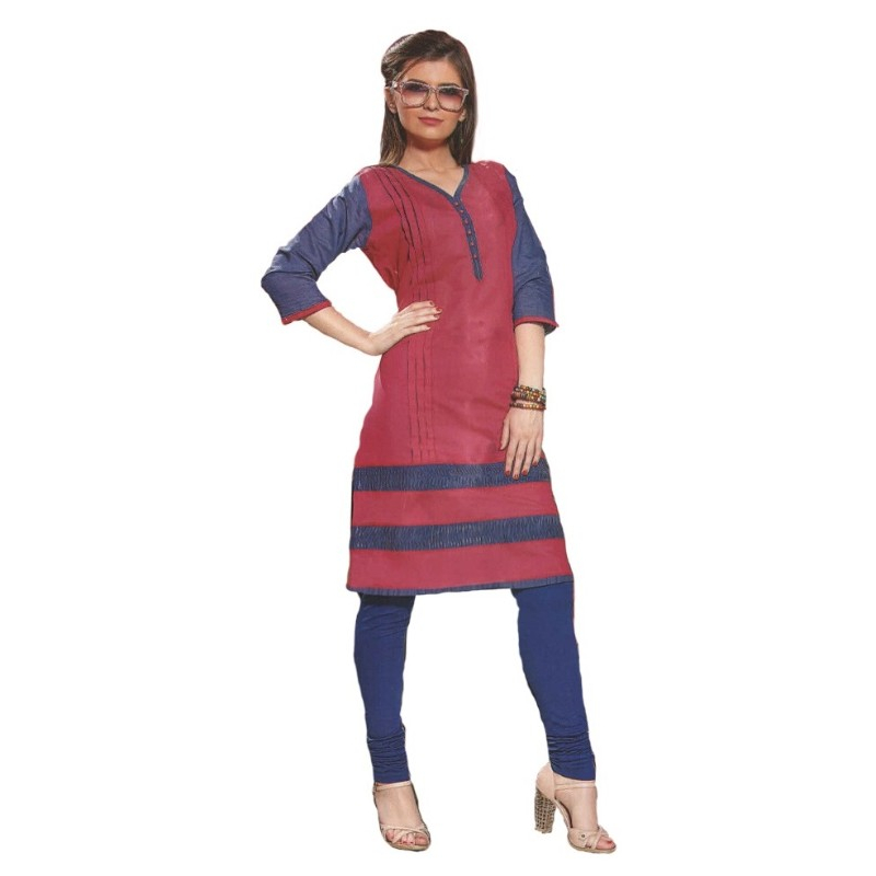 Pink And Blue Self Designed Casual Women's Kurti