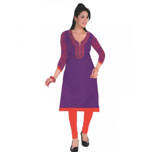 Violet Designer Round Embroidered Neck Women's  Kurta