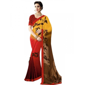 Generic Womens Georgette Digital Printed Saree (Red, Yellow, 6.25 Mtr)