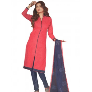 Cotton Salwar Suit Unstitched Dress Material For Women_Red