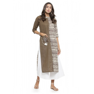 Light Brown And White Color Cambric Kurti