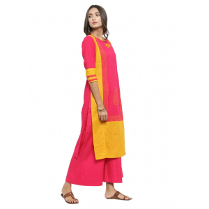 Pink And Yellow Color Cotton Flex Kurti