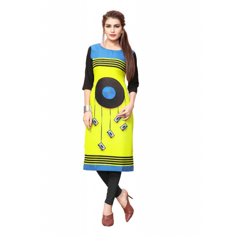 Yellow And Black Color Crepe Kurti