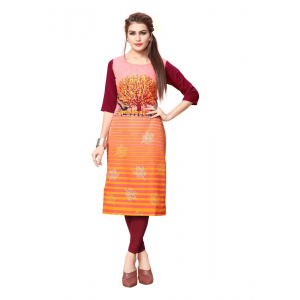 Orange And Maroon Color Crepe Kurti