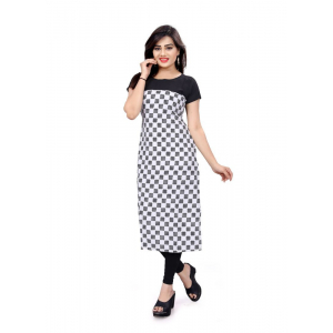 White And Black Color Crepe Kurti