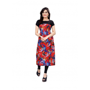 Red And Black Color Crepe Kurti