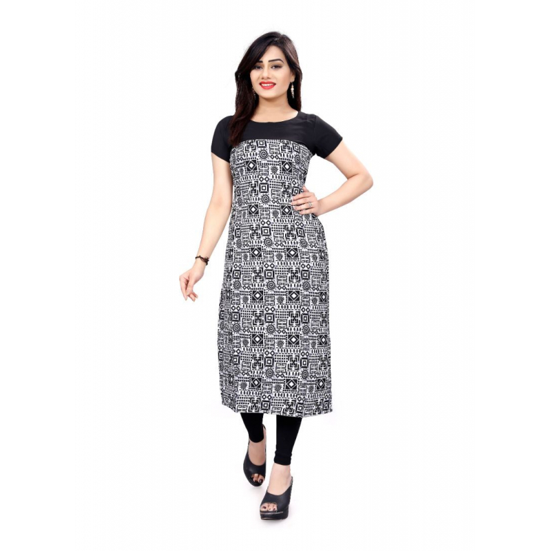 Black And White Color Crepe Kurti