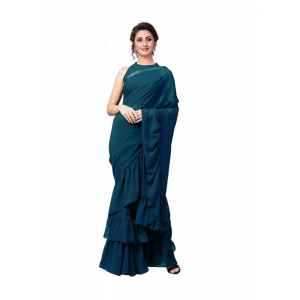 Turquoise Color Vichitra Silk  Saree with Blouse
