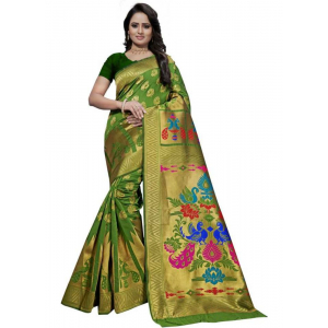 Green Color Jacquard Saree with Blouse