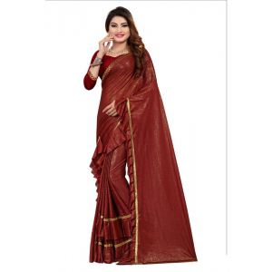 Maroon Color Lycra Saree with Blouse