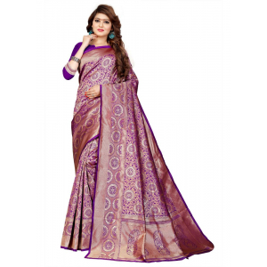 Purple Color Jaqaurd  Saree