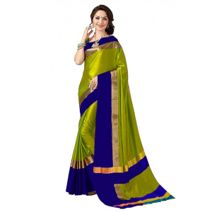Blue And Green Color Cottn Silk  Saree