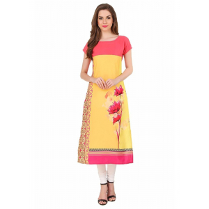Red And Yellow Color Crepe Kurti