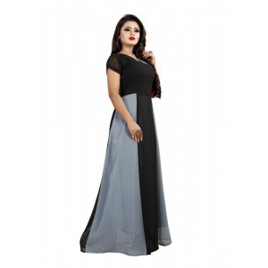 Black And Grey Color American Crepe Gown