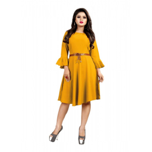 Yellow Color American Crepe Western Dress