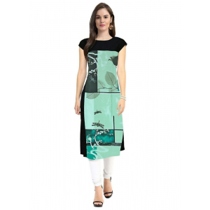 Green And Black Color Crepe Kurti