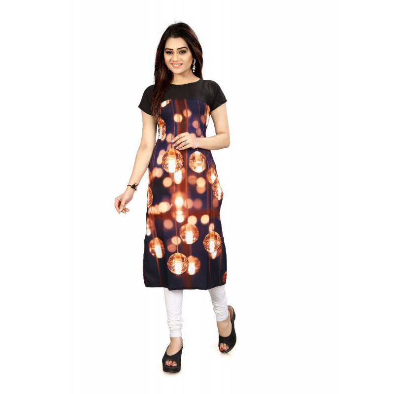 Black And Gold Color Crepe Kurti