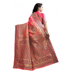 Peach Color Cotton Silk Saree with Blouse